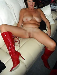 Grannies and matures naked in boots and heels
