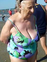 Big nipples on this granny freak