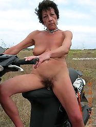 Short haired Filthy granny with pierced pussy